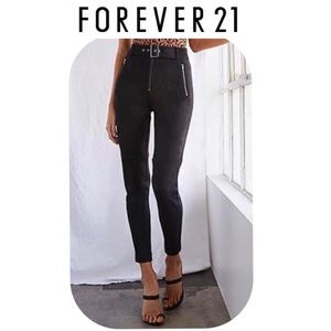 Forever21 Faux Suede Zip-Fly Ankle Pants